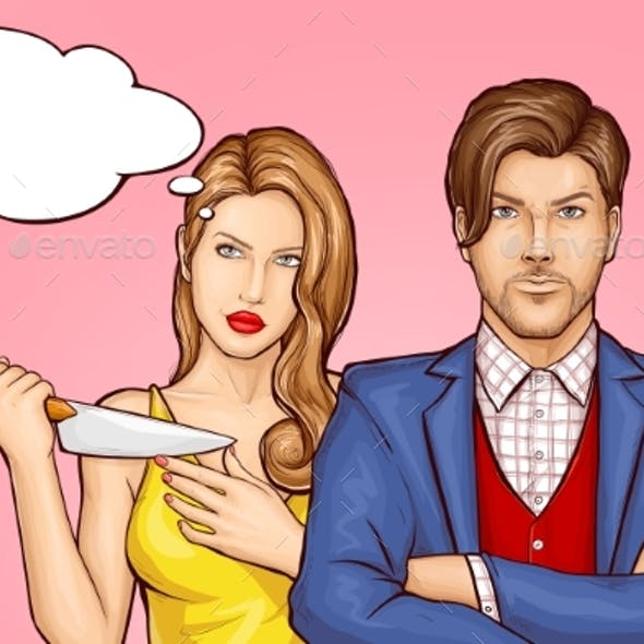 Wife with Knife Behind Husband Cartoon Vector