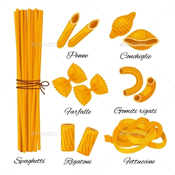 Pasta Cartoon Set Isolated on White Background - Food Objects