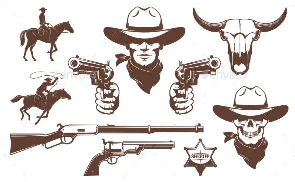 Cowboy Wild West Retro Design Elements - Animals Characters