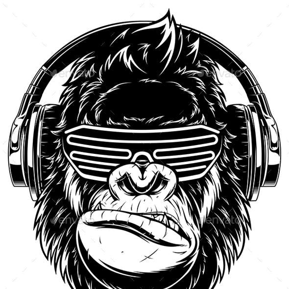 Gorilla in Headphones