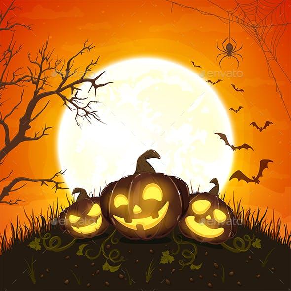 Pumpkins on Orange Halloween Background