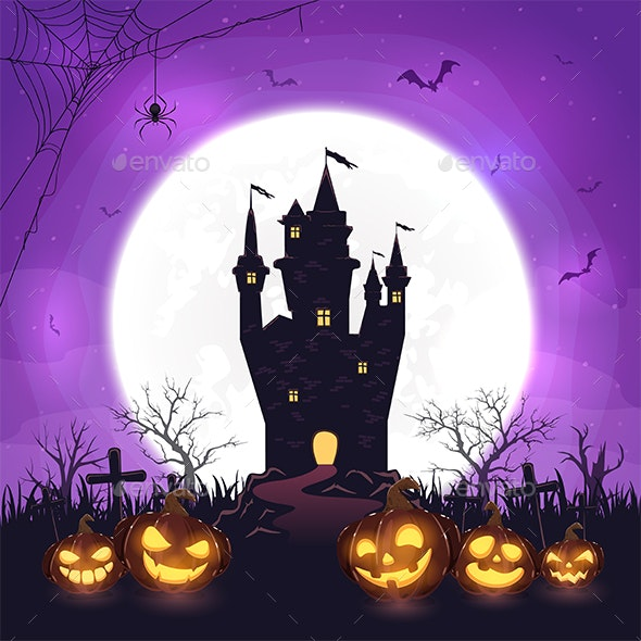 Halloween Background with Pumpkins and Castle - Halloween Seasons/Holidays
