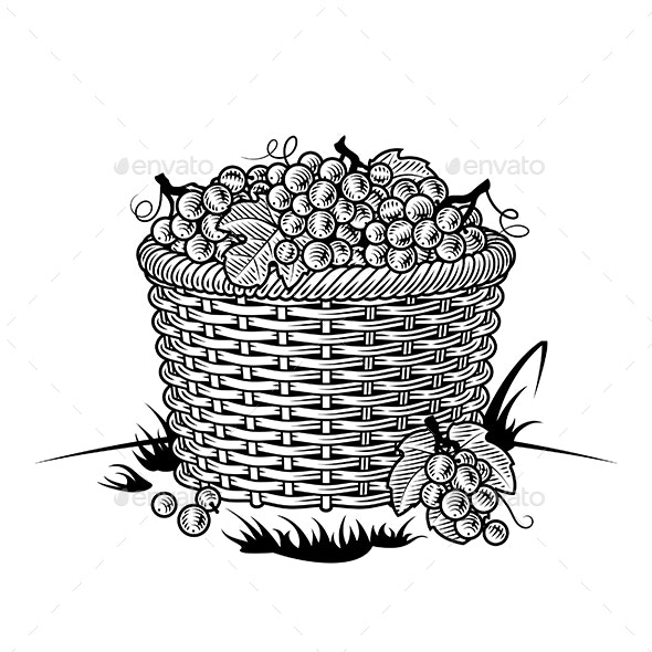 Retro Basket of Grapes Black and White - Food Objects
