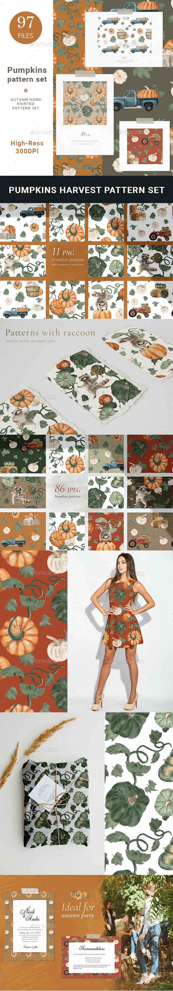 Autumn Harvest Pattern Set - Patterns Backgrounds