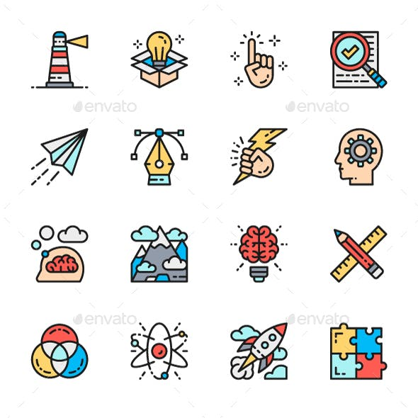 Set Of Creativity And Inspiration Color Line Icons. Pack Of 64x64 Pixel Icons
