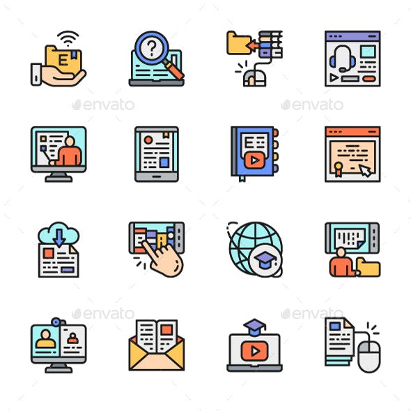 Set Of Online Education Color Line Icons. Pack Of 64x64 Pixel Icons