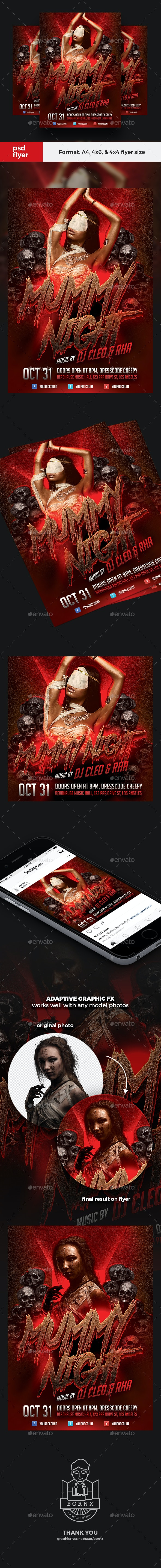 Mummy Halloween Party Flyer - Clubs & Parties Events