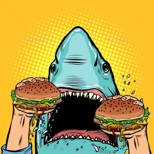 Hungry Shark Eats the Burger - Food Objects