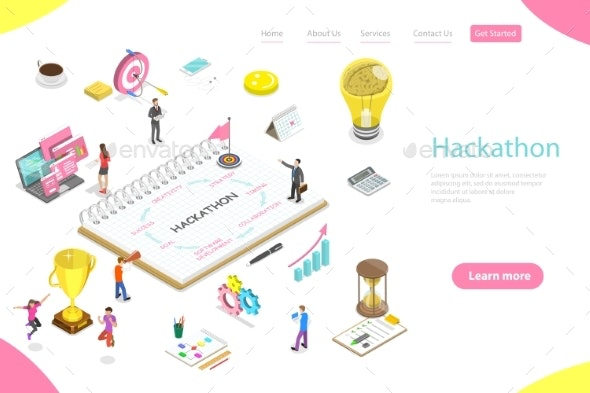 Isometric Flat Vector Landing Page Template - Communications Technology