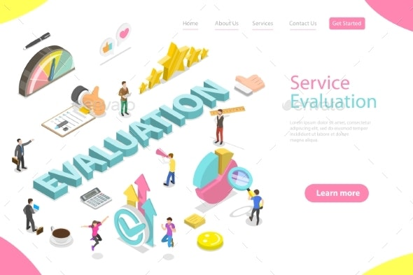 Isometric Flat Vector Landing Page Template - Concepts Business