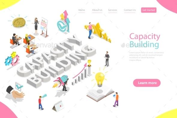 Isometric Flat Vector Landing Page Template - Business Conceptual