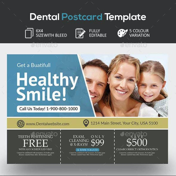 Dental Clinic Postcard Template