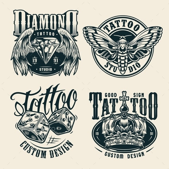 Vintage Tattoo Studio Badges - Miscellaneous Vectors