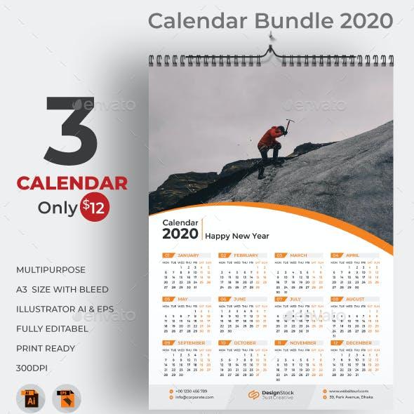 One Page Wall Calendar 2020 Bundle
