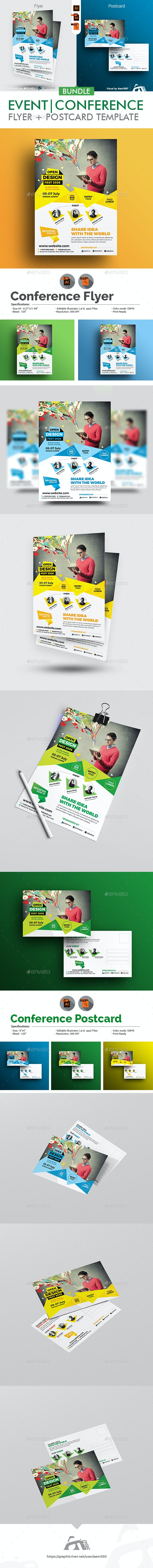 Conference Flyer and Postcard Bundle - Events Flyers