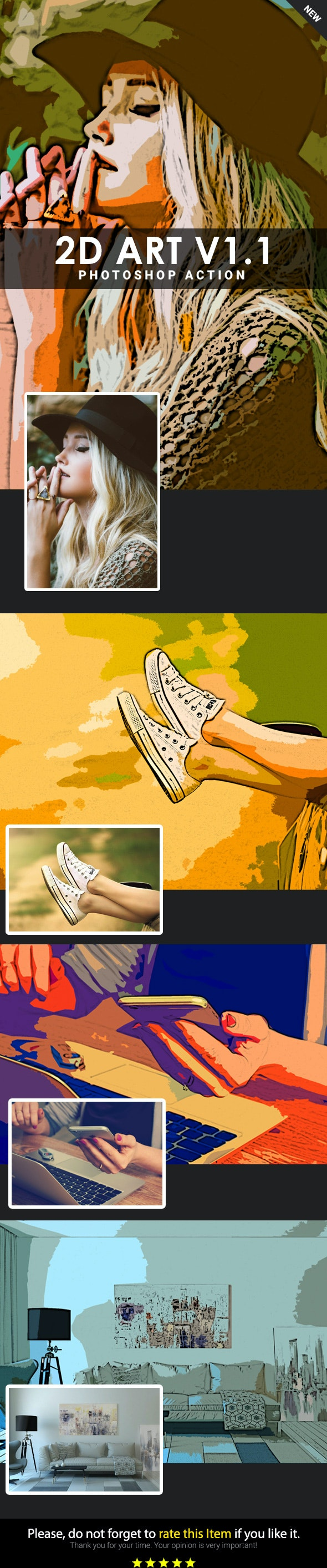 2D Art  V1.1 Photoshop Action - Add-ons