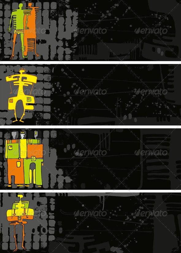 Banner Black Set Grunge People - Backgrounds Decorative