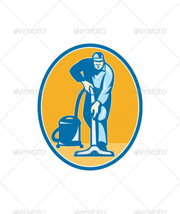 Cleaner Janitor Worker Vacuum Cleaning - People Characters