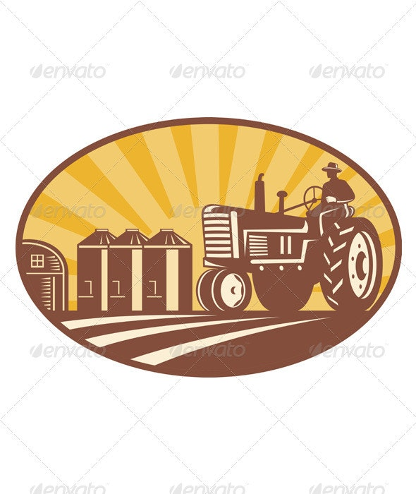 Farmer Driving Vintage Tractor Retro Woodcut - People Characters