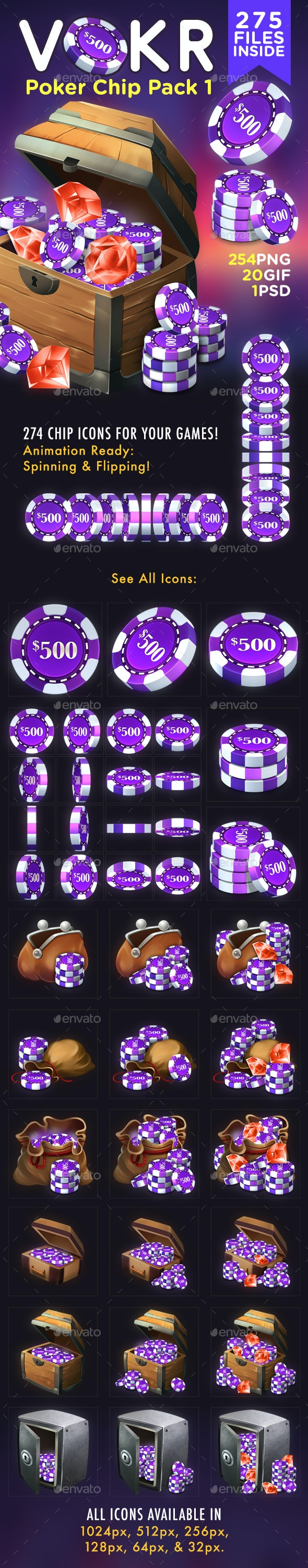 VOKR - Poker Chip Pack 1 - Miscellaneous Game Assets