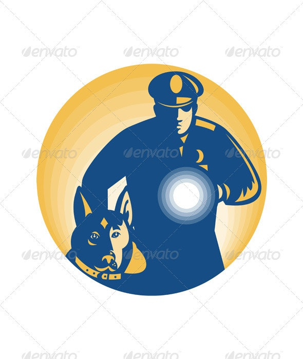 Security Guard Policeman Police Dog - People Characters