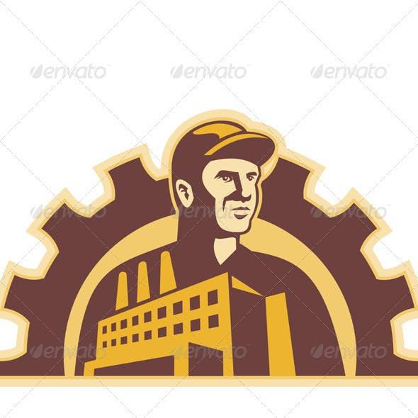 Factory Worker Building Gear Cog Retro