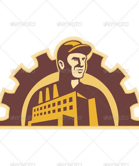 Factory Worker Building Gear Cog Retro - People Characters
