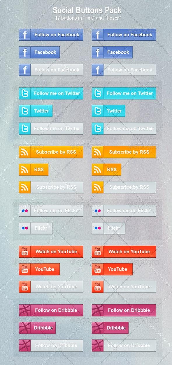 Social Buttons Pack - Buttons Web Elements