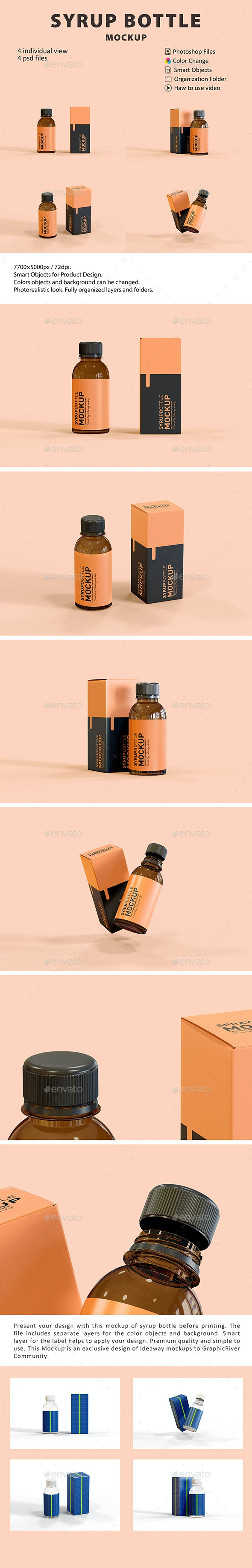 Syrup Bottle Box Mockup - Packaging Product Mock-Ups