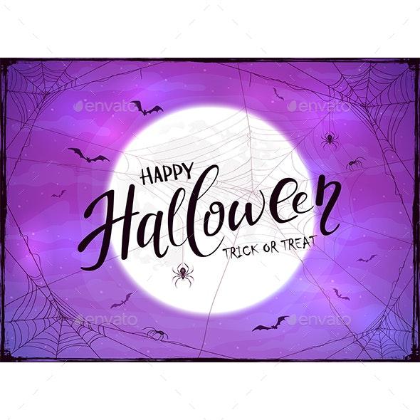 Happy Halloween and Spider on Purple Background - Halloween Seasons/Holidays