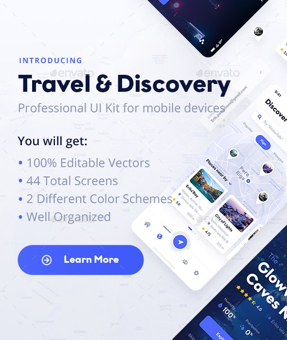 Travel & Discovery Mobile UI Kit - User Interfaces Web Elements