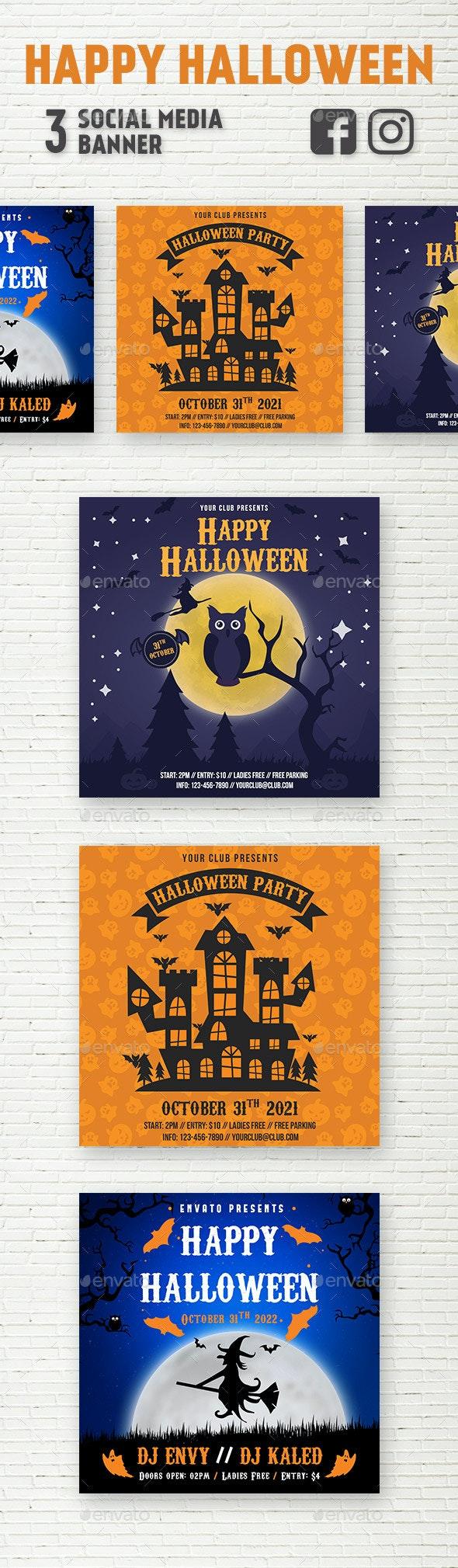 Halloween Social Media Banner - Social Media Web Elements