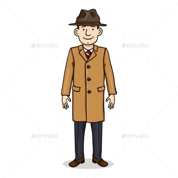 Vector Cartoon Character - Man in Hat and Coat - People Characters