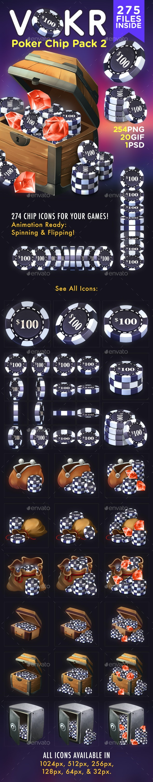 VOKR - Poker Chip Pack 2 - Miscellaneous Game Assets
