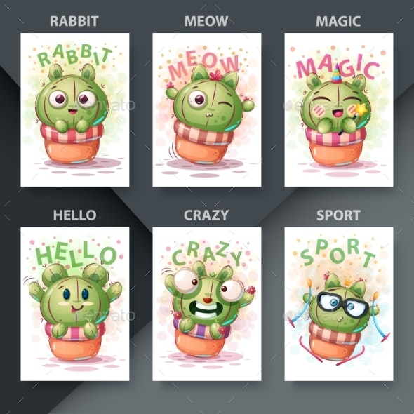 Cartoon Illustration Set of Cactus Characters - Miscellaneous Characters