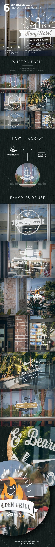 6 Window Signage Photorealistic Mockups - Signage Print