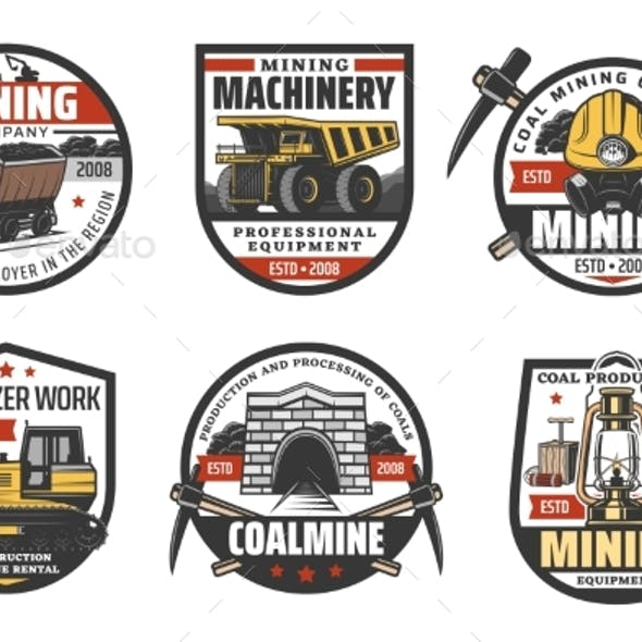 Coal Mine Mining Industry Icons