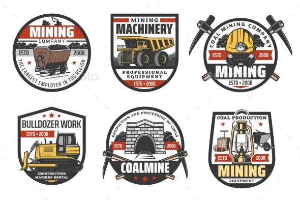 Coal Mine Mining Industry Icons - Industries Business