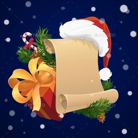 Christmas Scroll with Xmas Gift and Santa Hat - Christmas Seasons/Holidays