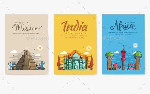 Set of Different Cities for Travel Destinations - Buildings Objects