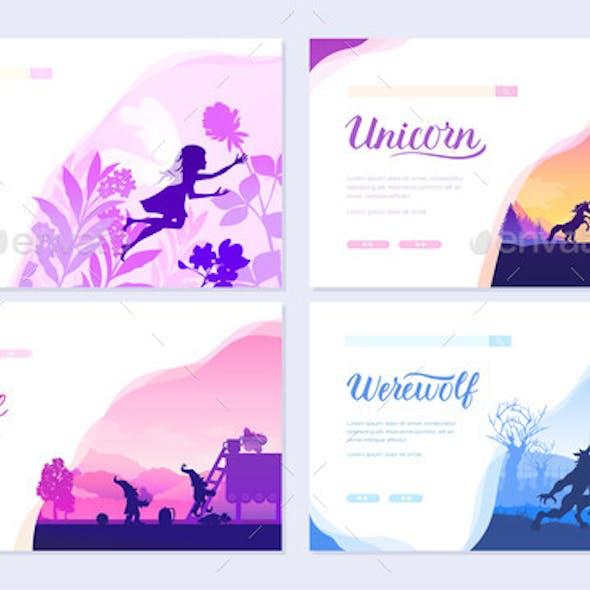 Set of Diverse Fantasy Worlds Fantasy Creatures