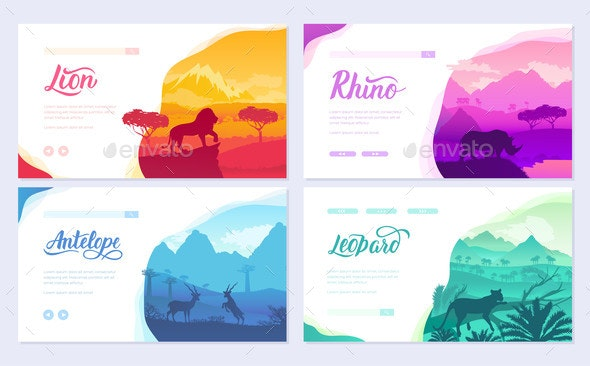 Brochures with African Animals in Natural Habitat - Animals Characters
