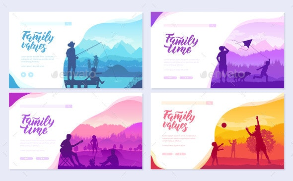 Family Vacation with Children in Nature Brochure - People Characters