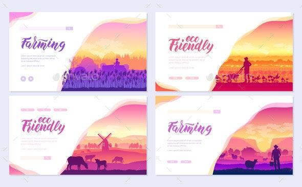 Farming Life Brochure Cards Set - Animals Characters