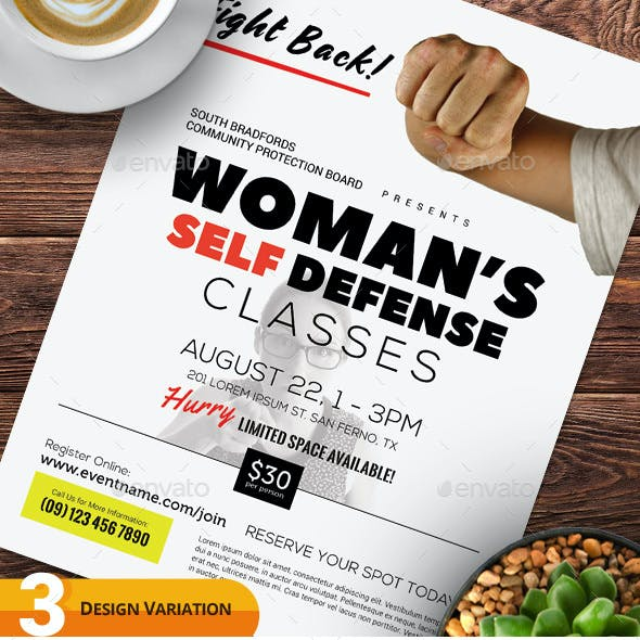 Woman's Self Defense Flyer Templates