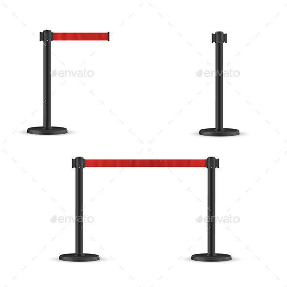 Retractable Belt Stanchion Set Portable Ribbon - Miscellaneous Vectors