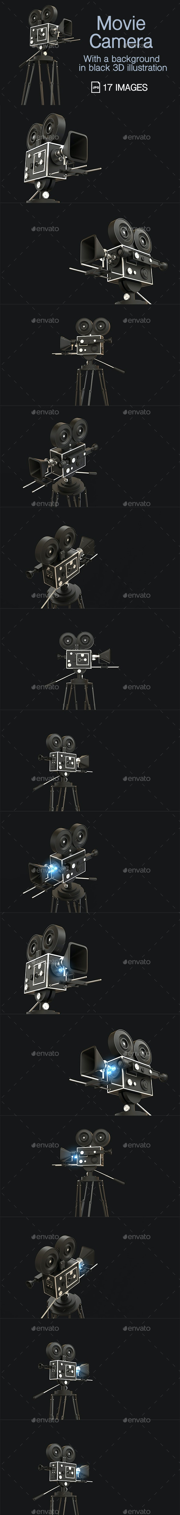 Movie Camera With A Background in Black 3D Illustration - Technology 3D Renders
