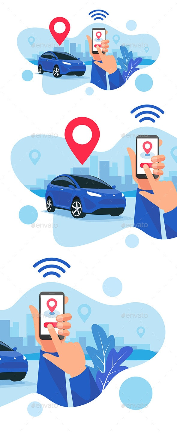Connected Car Parking Sharing Service Remote Controlled Via Smartphone App - Services Commercial / Shopping