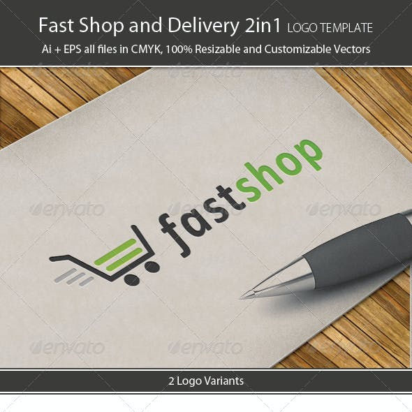 Fast Shop And Delivery 2in1 Logo Template