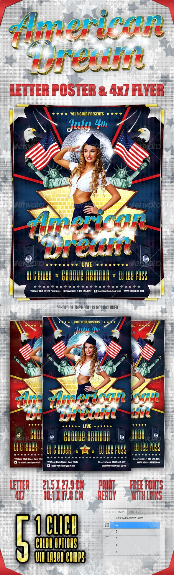 American Dream Party Poster and Flyer - Clubs & Parties Events